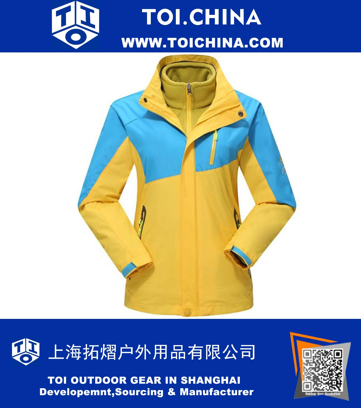 Bright Contrast Color Outdoor Windproof and Waterproof 3 in 1 Jacket, ZT-CJ002