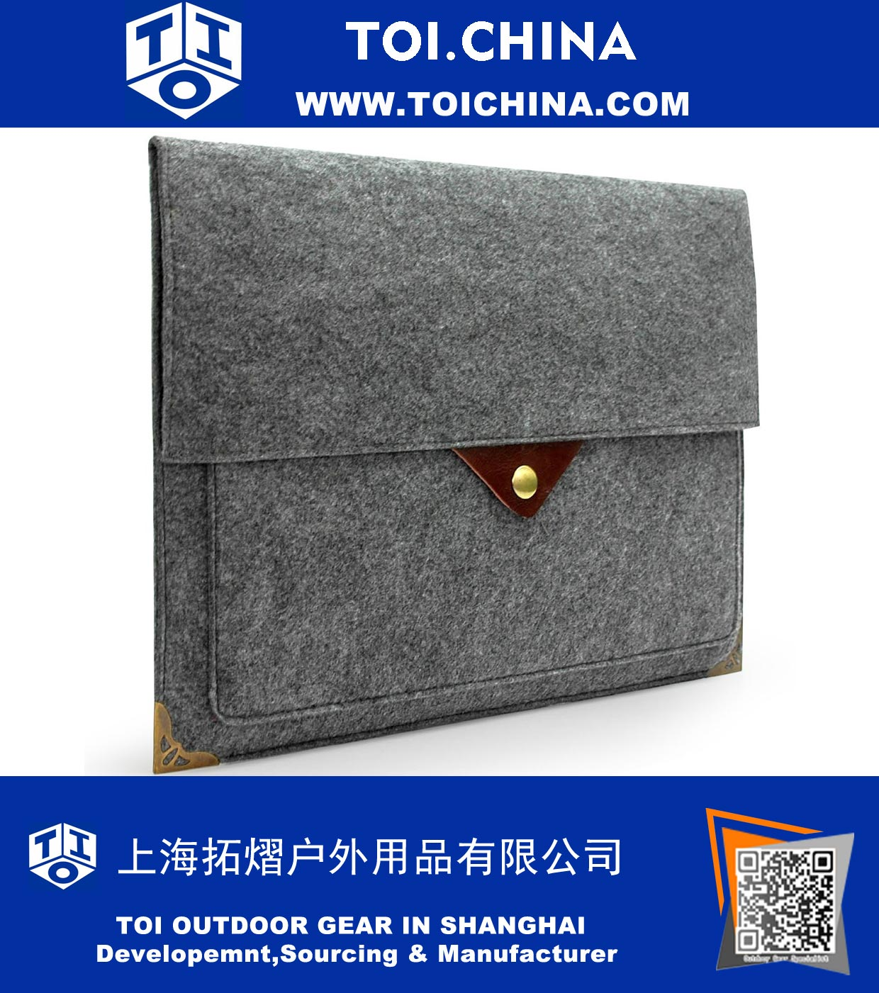 Gray Felt Case Bag Sleeve Protector with Authentic Triangle Leather Flap and Copper Metal Corner for