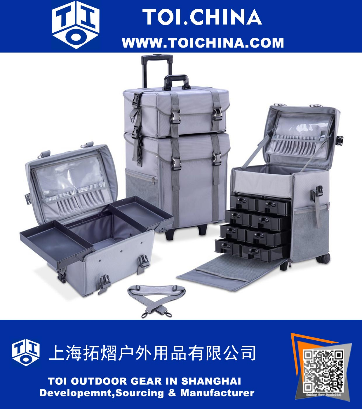 Makeup Artist Trolley Case, Multifunction Cosmetic Organiser with Removable Drawers, Beauty Trolley, Soft Case, ST-ZG011
