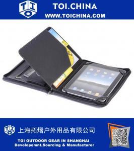 caso Carteira de couro preta para iPad