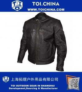 Mens Armored Black Leather Racing Jacket