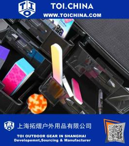 Soft Makeup Artist Rolling Trolley Cosmetic Case With Free Set Of Mesh Bags