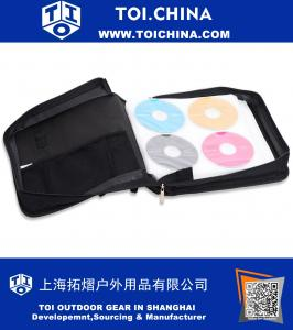 CD DVD Carrying Case - Black - with New and Improved Inserts, double the thickness and all tabs pulled